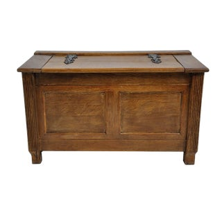 French Farmhouse Style Wooden Oak Trunk For Sale