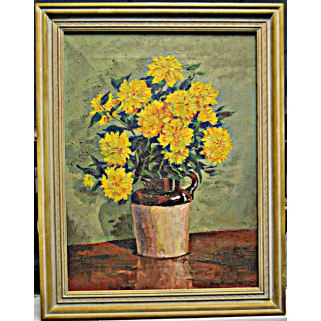 """Yellow Chrysanthemums"" by Irene Putnam Davis - Image 2 of 4"