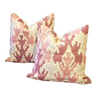 "Lee Jofa 20"" Square Bengal Bazaar Linen Pillow Covers - a Pair For Sale"