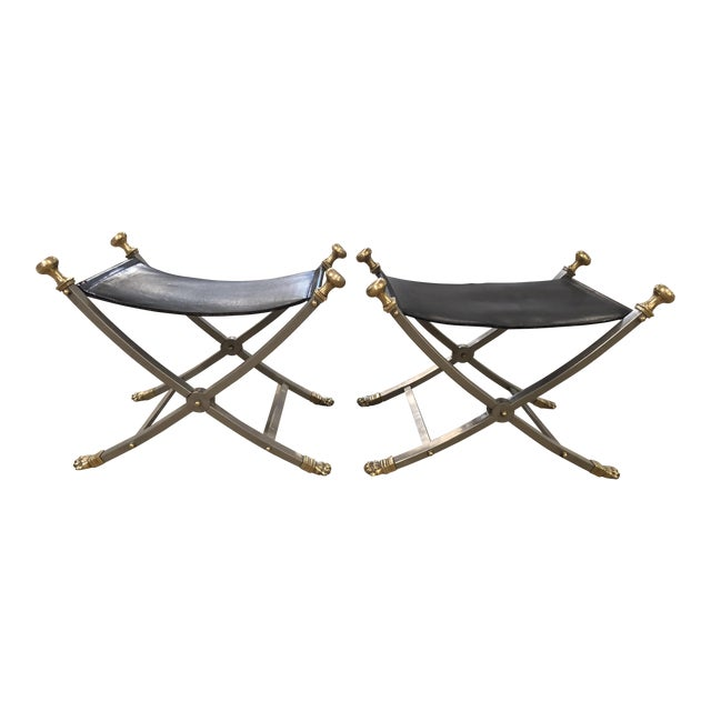 Late 20th Century Jansen Style Sling Leather Seat Folding Stools- A Pair For Sale