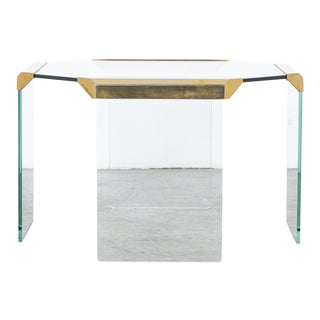 Mid-Century Modern Brass and Glass Coffee Table For Sale
