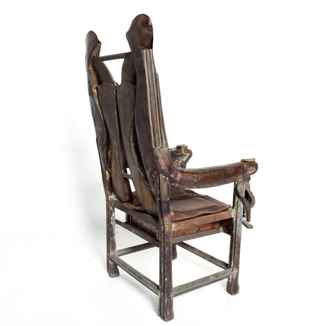 1980s Brutalist Sculptural Bronze Arm Chair Signed Zavala, Game of Thrones Era For Sale - Image 5 of 11