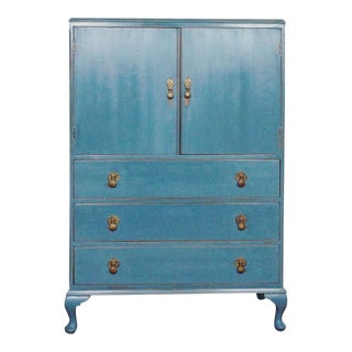 1940s Cottage Blue Gentleman's Chest For Sale