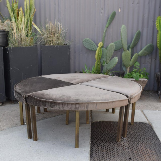Mid-Century Modern Round Bench Stool Pizza Shape in Bronze and Velvet For Sale In San Diego - Image 6 of 11