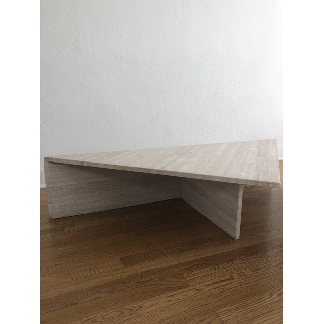 Tan Vintage Travertine Stone Triangle Coffee Table - 2 Pieces For Sale - Image 8 of 13