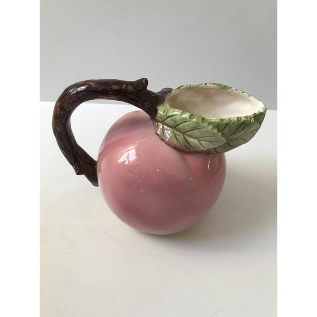 Italian Style Pink Peach Ceramic Pitcher - Image 2 of 7