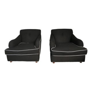 ABC Carpet and Home Black Wool Chairs - a Pair