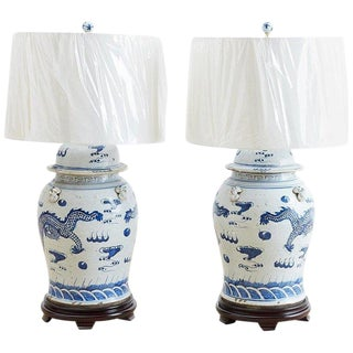 Monumental Chinese Blue and White Ginger Jar Lamps For Sale