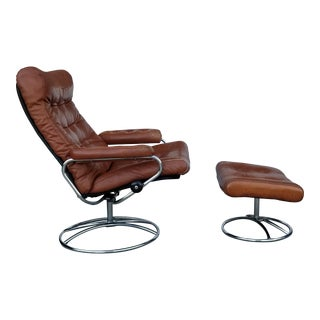 1970's Vintage Ekorns Stressless Chrome Frame Recliner and Ottoman For Sale