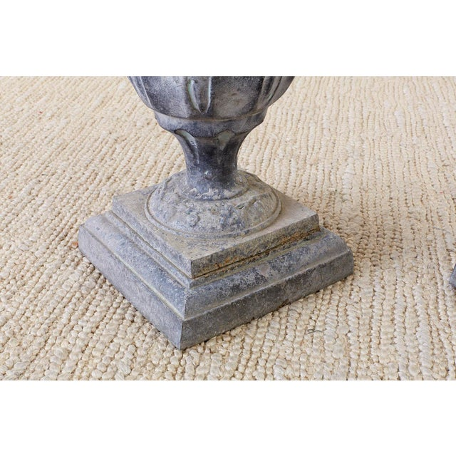 Gray Pair of French Neoclassical Tulip Form Garden Urn Planters For Sale - Image 8 of 13