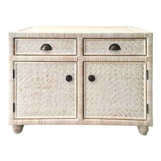 Boho Chic Rattan White Washed Sideboard For Sale