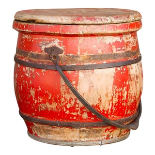 Aged Red Asian Food Container For Sale