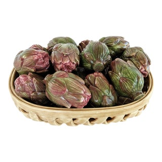 Jay Wilfred Div. Of Andrea Sadek Ceramic Basket With Artichokes For Sale