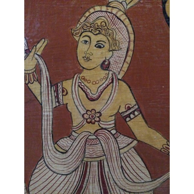 Antique Tea Chest Sri Lanka/Ceylonese Royal Procession Hand Painted For Sale - Image 10 of 12