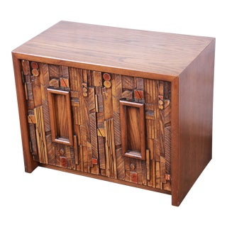Lane Pueblo Brutalist Mid-Century Modern Oak Nightstand For Sale