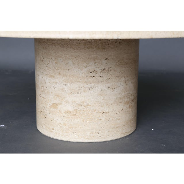 Mid Century Round Travertine Coffee Table - Image 5 of 9