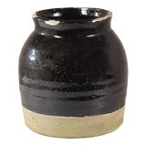 Image of Black Ceramic Distressed Vase For Sale