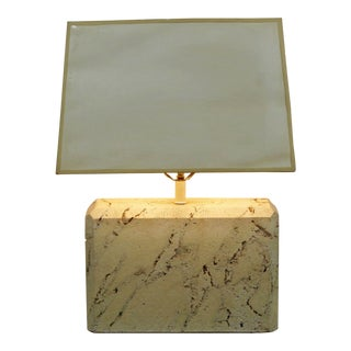 Mid Century Modern Travertine Fossil Stone Table Lamp 1970s Original Finial For Sale
