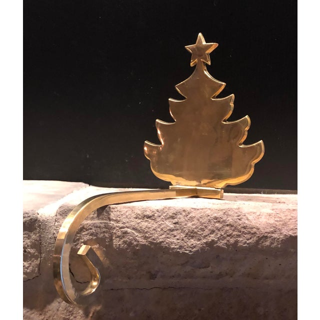 Late 20th Century Vintage Christmas Holiday Tree Brass Stocking Hanger For Sale - Image 5 of 6