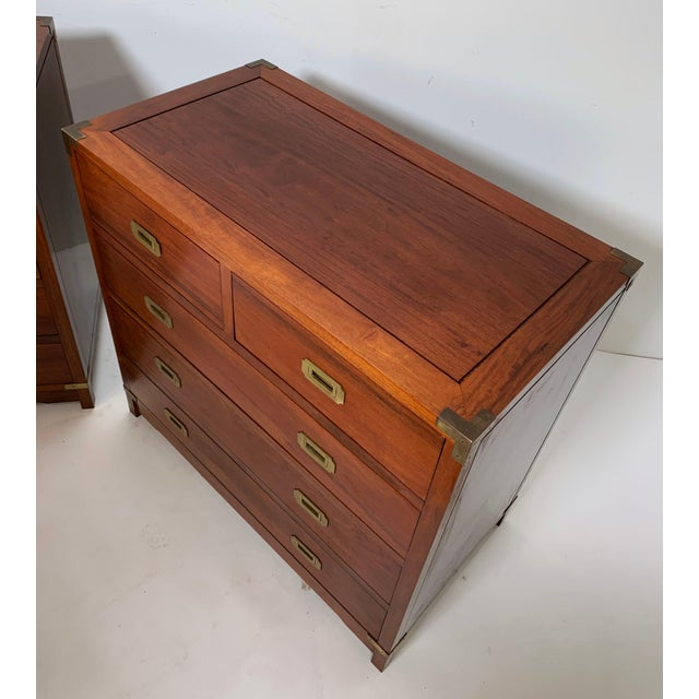 1950s Pair of Mahogany Anglo-Indian Campaign Dressers With Brass Hardware, Circa 1950s For Sale - Image 5 of 8