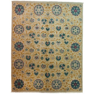 "Suzani, Hand Knotted Area Rug - 8'3"" X 10'3"" For Sale"