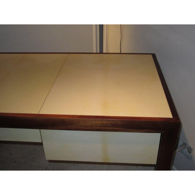 2000s Custom parchment and Mahogany Writing Desk For Sale - Image 5 of 7