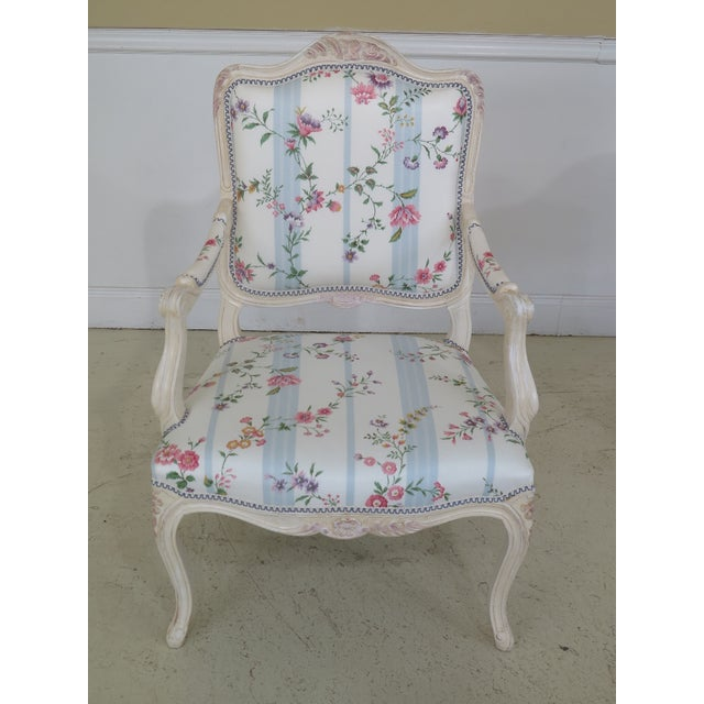 This is a pair of new French style Scalamandre upholstered armchairs. Details: High Quality Construction 18 C. Design...