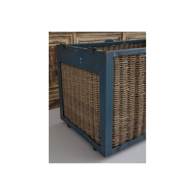 Pair of Large French Industrial Wicker Baskets For Sale - Image 4 of 11