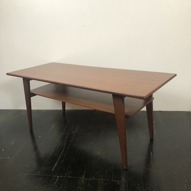 Mid-Century Modern Danish Modern Walnut 2 Tier Coffee Table For Sale - Image 3 of 5