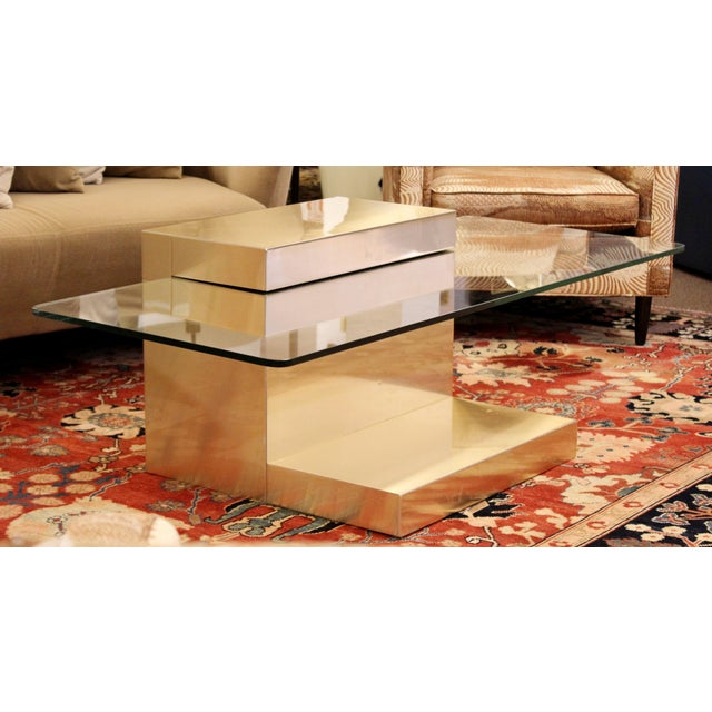 Paul Evans Mid-Century Modern Paul Evans Cantilever Brass Glass Cityscape Coffee Table For Sale - Image 4 of 12