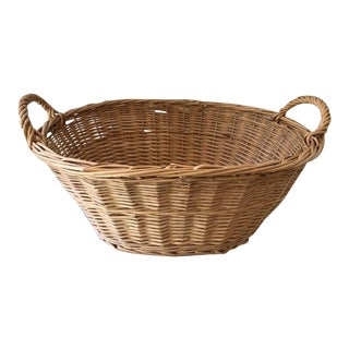 Vintage Rattan/Wicker Laundry Basket For Sale