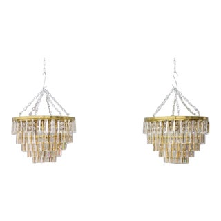 Pair of Crystal Glass Flush Mount Chandelier by Palwa, Germany, 1970s For Sale