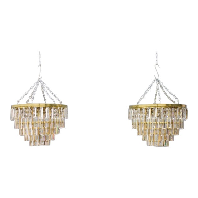 Beautiful flush mount chandelier by Pala, 1970s. Gilded brass and crystal glass. Very dood condition. No cracks or damages...