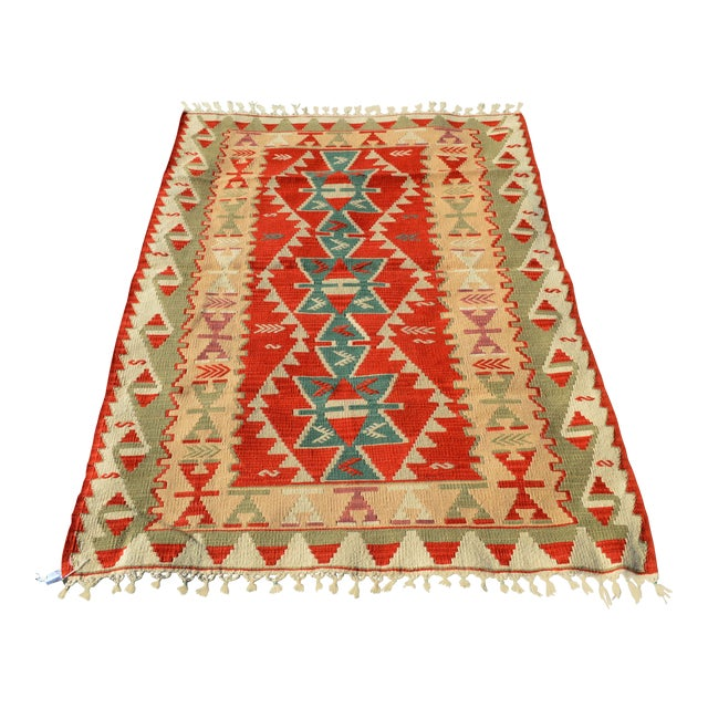Handmade Kilim Geometric Design Cappadocia Red Color Kilim Rug - 3′11″ × 5′10″ For Sale