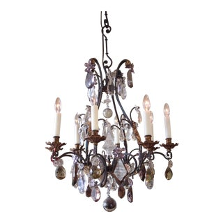 CAGE FRAME EIGHT LIGHT CRYSTAL CHANDELIER For Sale