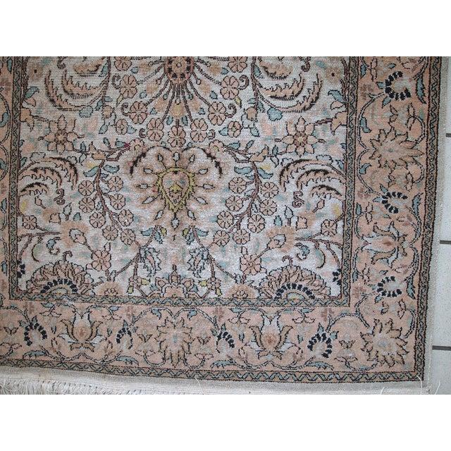 Gray Vintage Silk Indian Indo-Tabriz Rug - 3′2″ × 5′3″ For Sale - Image 8 of 10