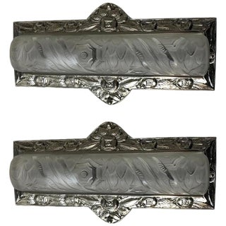 Schneider French Art Deco Floral Wall Sconces - a Pair For Sale
