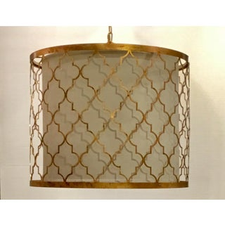 Regina Andrew Modern Gold Leaf Finished Geometric Drum Shade Pendant Preview