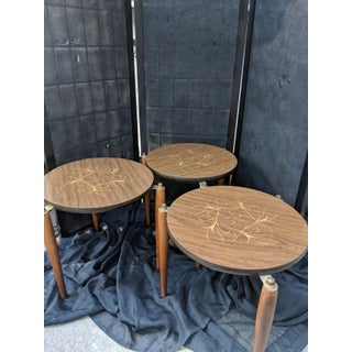 Mid - Century Modern Round Wooden Nesting Tables Retro - Set of 3 Preview
