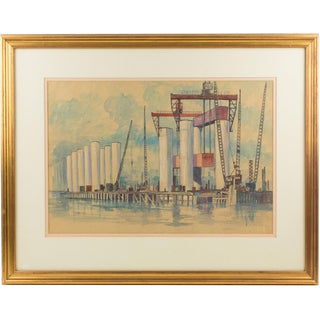 Industrial Bridge Construction Seascape Pastel & Ink Painting by t.s. Halliday For Sale