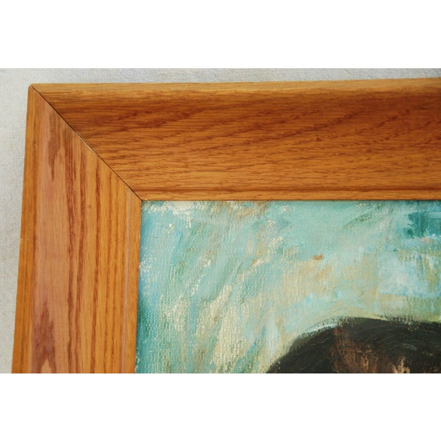 Mid-Century Lady in Blue Oil on Canvas Portrait - Image 5 of 8