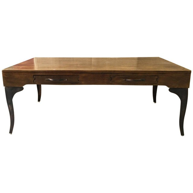 Traditional Wooden Coffee Table With Metal Legs Table With