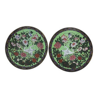 Vintage French Cloisonné Chargers - a Pair For Sale