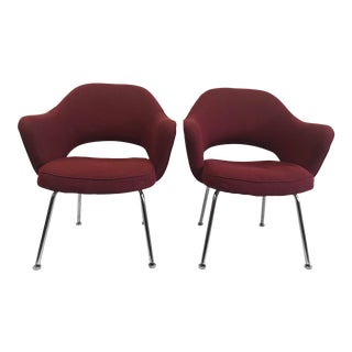 Saarinen for Knoll Executive Burgundy Chrome Base Armchairs - a Pair For Sale