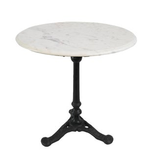White Marble & Cast Iron Side Table