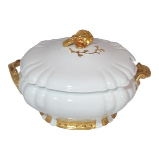 White with Gold Details Haviland Limoge Soup Tureen For Sale