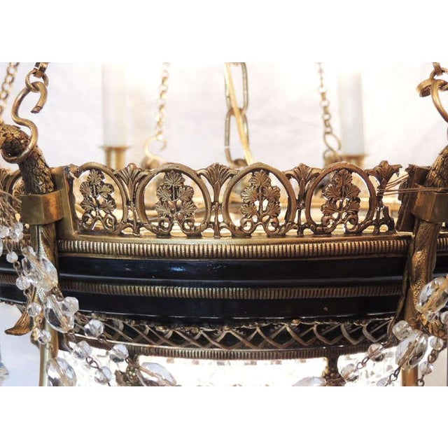 Bronze Late 19th C French Empire Bronze and Crystal Chandelier For Sale - Image 7 of 10