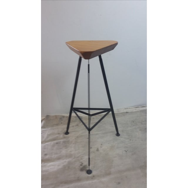 Delta Steel & Pine Stool For Sale - Image 4 of 5