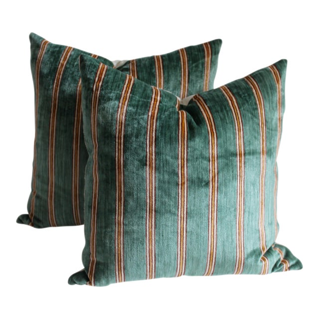 Striped Velvet Pair of Pillows For Sale