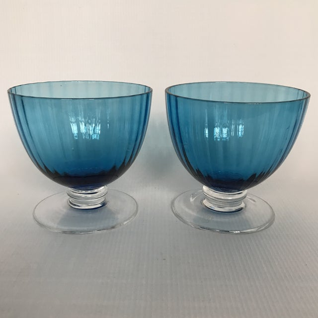 Blue Glass Footed Dessert Cups - A Pair For Sale - Image 5 of 5